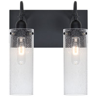 Besa Lighting Juni 10 2 Light Vanity in Black 2WG-JUNI10CL-BK