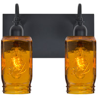 Milo 4 2 Light 12 inch Black Vanity Wall Light in Transparent Amber Glass