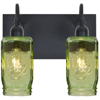 Milo 4 2 Light 12 inch Black Vanity Wall Light in Transparent Green Glass