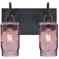 Milo 4 2 Light 12 inch Black Vanity Wall Light in Transparent Purple Glass