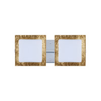 Besa Alex 2 Light Vanity in Chrome with Opal/Gold Foil Glass 2WS-7735GF-CR
