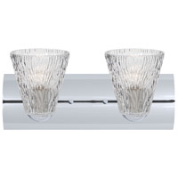 Besa Lighting 2WZ-NICO5CL-CR Nico 5 2 Light 15 inch Chrome Vanity Wall Light in Clear Stone Glass Incandescent