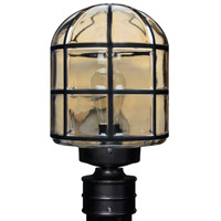 Besa Costaluz 3417 Series 1 Light Post Mount in Black with Clear Glass 341756-POST