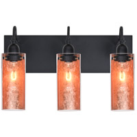 Duke 3 Light 20 inch Black Vanity Wall Light in Copper Foil Glass