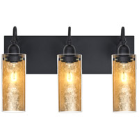 Duke 3 Light 20 inch Black Vanity Wall Light in Gold Foil Glass