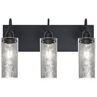 Duke 3 Light 20 inch Black Vanity Wall Light in Silver Foil Glass