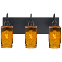 Milo 4 3 Light 12 inch Black Vanity Wall Light in Transparent Amber Glass