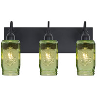 Milo 4 3 Light 12 inch Black Vanity Wall Light in Transparent Green Glass