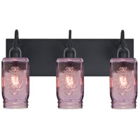 Milo 4 3 Light 12 inch Black Vanity Wall Light in Transparent Purple Glass