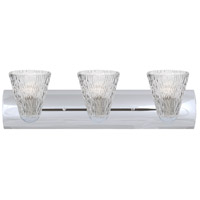 Besa Lighting 3WZ-NICO5CL-CR Nico 5 3 Light 22 inch Chrome Vanity Wall Light in Clear Stone Glass Incandescent