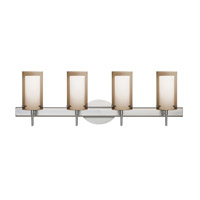 Besa Pahu LED Vanity in Satin Nickel with Transparent Smoke/Opal Glass 4SW-S44007-LED-SN