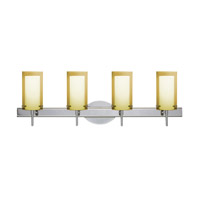 Besa Pahu LED Vanity in Chrome with Transparent Gold/Opal Glass 4SW-Y44007-LED-CR