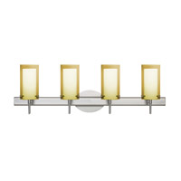 Besa Pahu LED Vanity in Satin Nickel with Transparent Gold/Opal Glass 4SW-Y44007-LED-SN