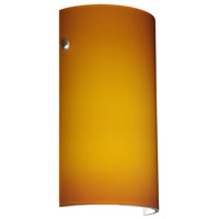 Besa Lighting 704280-LED-PN Tamburo 7 LED 7 inch Polished Nickel ADA Wall Sconce Wall Light in Amber Matte Glass