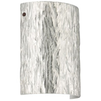 Besa Lighting 7090SF-LED-BR Tamburo 8 LED 8 inch Bronze ADA Wall Sconce Wall Light in Stone Silver Foil Glass
