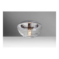 Wave 1 Light 12 inch Flush Mount Ceiling Light in Clear Glass, Edison
