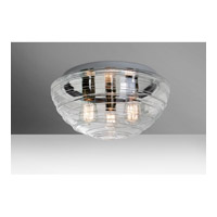 Wave 3 Light 15 inch Flush Mount Ceiling Light in Clear Glass, Edison