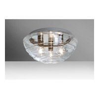 Wave 3 Light 15 inch Flush Mount Ceiling Light in Clear Glass, Incandescent