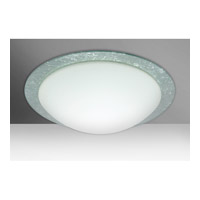 Besa Ring 3 Light Flush Mount in White/Silver Foil Glass 9770SFC