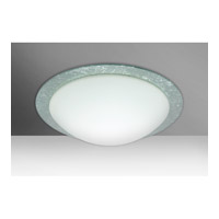 Besa Ring 2 Light Flush Mount in White/Silver Foil Glass 9771SFC