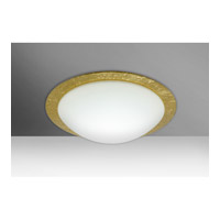 Besa Ring 1 Light Flush Mount in White/Gold Foil Glass 9772GFC