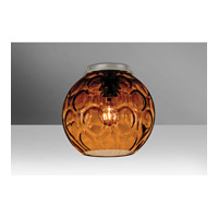 Besa Bombay 1 Light Flush Mount in Satin Nickel with Amber Glass BOMBAYAMC-SN