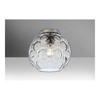 Besa Bombay 1 Light Flush Mount in Satin Nickel with Clear Glass BOMBAYCLC-SN