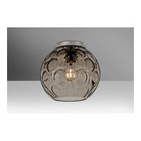 Besa Bombay 1 Light Flush Mount in Satin Nickel with Smoke Glass BOMBAYSMC-SN