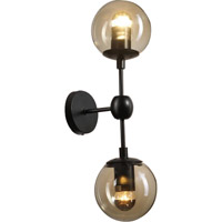 Bethel International DU03W Canada 2 Light 5 inch Black and Amber Wall Sconce Wall Light