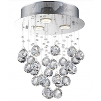 Bethel International LX03SH Canada 3 Light 12 inch Chrome Flush Mount Ceiling Light