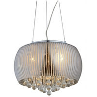 Bethel International Series 5 Light 18 inch Silver and Clear Chandelier Ceiling Light
