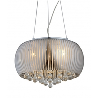 Bethel International Series 6 Light 22 inch Silver Chandelier Ceiling Light