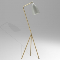 Bethel International BEL01GRY Bel01 Series 48 inch 60 watt Brass Floor Lamp Portable Light