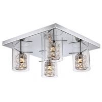 Bethel International ZP47 Canada 1 Light 20 inch Silver Flush Mount Ceiling Light, Glass Cover