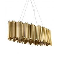 Bethel International NL35G-OV Canada LED 51 inch Gold Linear Pendant Ceiling Light