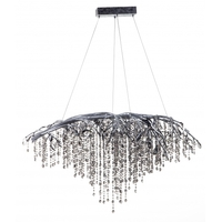 Bethel International AZ05SL Canada LED 43 inch Silver Chandelier Ceiling Light, Crystal
