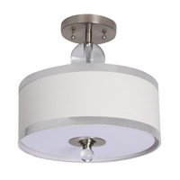 BH Series 12 inch Semi Flush Mount Ceiling Light, Silver Metal Frame
