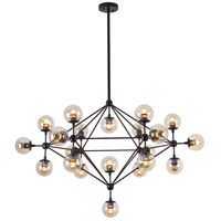 DU Series 51 inch Pendant Ceiling Light, Geometric Sphere, Black Frame