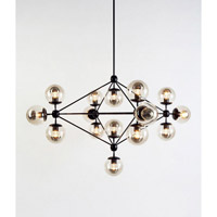 DU Series 51 inch Light Black Pendant Ceiling Light, Geometric Sphere, Black Frame