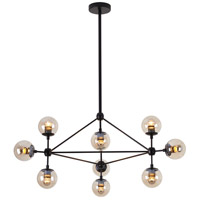 DU Series 35 inch Pendant Ceiling Light, Geometric Sphere, Black Frame