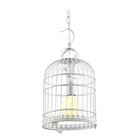 DU Series 10 inch Pendant Ceiling Light, White Cage, Black Metal