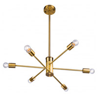 DU Series 6 Light 33 inch Gold Pendant Ceiling Light