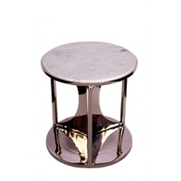 MZ Series Marble Side Table, Black Frame