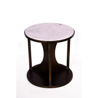 Bethel International MZ02 MZ Series Marble Side Table, Black Frame