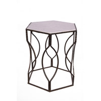 Bethel International MZ03 MZ Series Marble Side Table, Black Frame