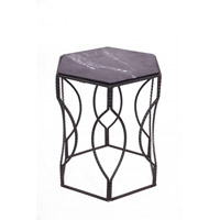 Bethel International MZ04 MZ Series Marble Side Table, Black Frame