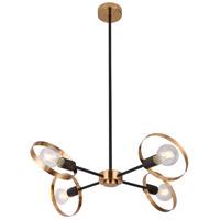 Bethel International TR73C27BR Canada 4 Light 28 inch Black/Brushed Brass Chandelier Ceiling Light