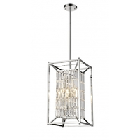 Bethel International YS6222-4PB Ys Series 13 inch Chandelier Ceiling Light Rectangular Cage Chrome Metal