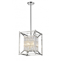 Bethel International YS6222-4PS Ys Series 13 inch Chandelier Ceiling Light Rectangular Cage Chrome Metal