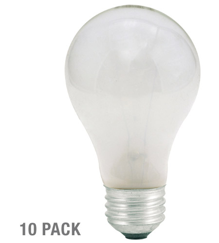 Bulbrite 25W 130V Long Life Standard Incandescent A19, Frost, 10-Pack 25A-10PK photo